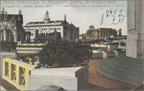 絵葉書:Looking North-east from the Manufacturers' Building, Alaska-Yukon-Pacific Exposition, Seattle, Wash., 1909.