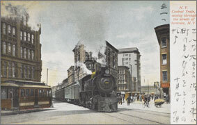 絵葉書:N.Y. Central Train, coming through the streets of Syracuse, N.Y.