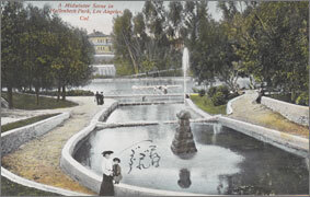 絵葉書:A Midwinter Scene in Hollenbeck Park, Los Angeles, Cal.